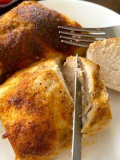 cutting air fried chicken breast