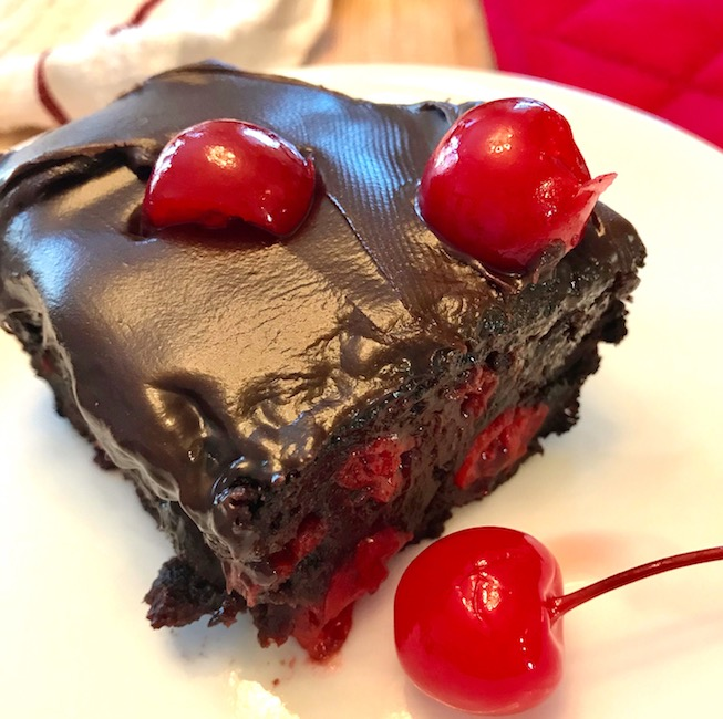serving of 2-ingredient cherry chocolate cake