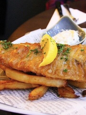 fish and french fries on a plate