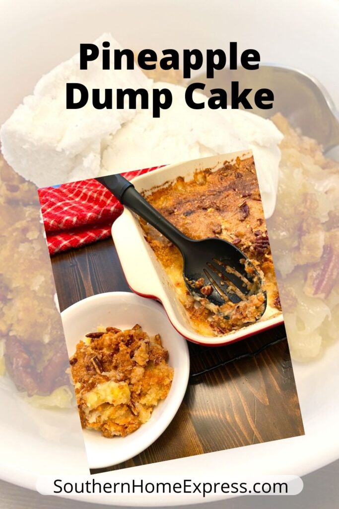 pan and bowl of pineapple dump cake