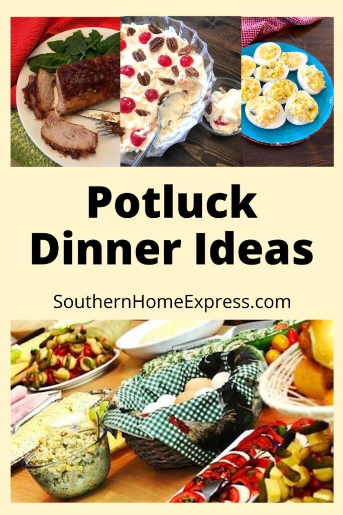 potluck dinner ideas with pork tenderloin, fruit salad, and deviled eggs