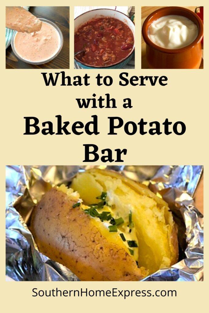 baked potato in aluminum foil and potato bar items
