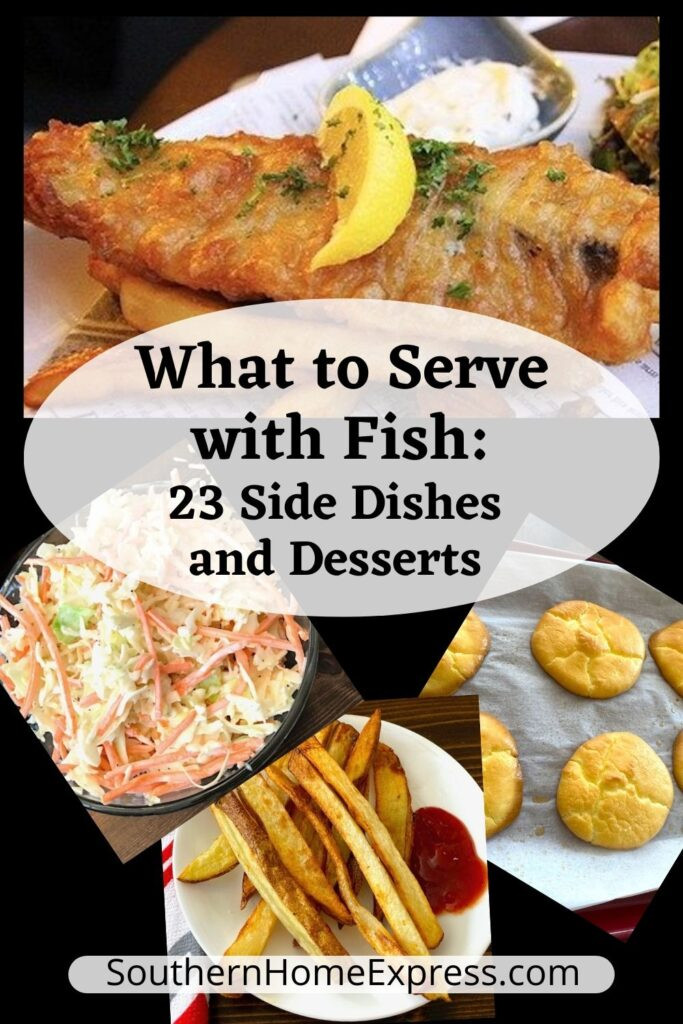 fish dinner with a variety of side dishes