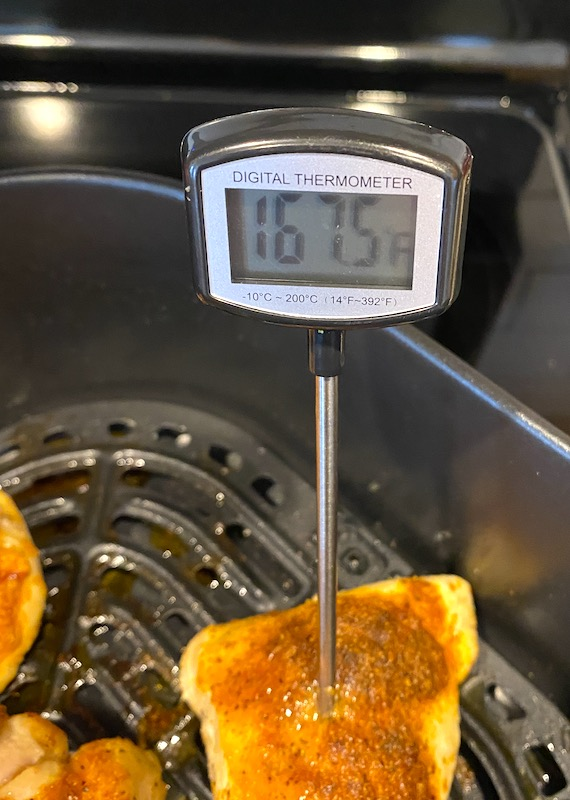 meat thermometer in chicken