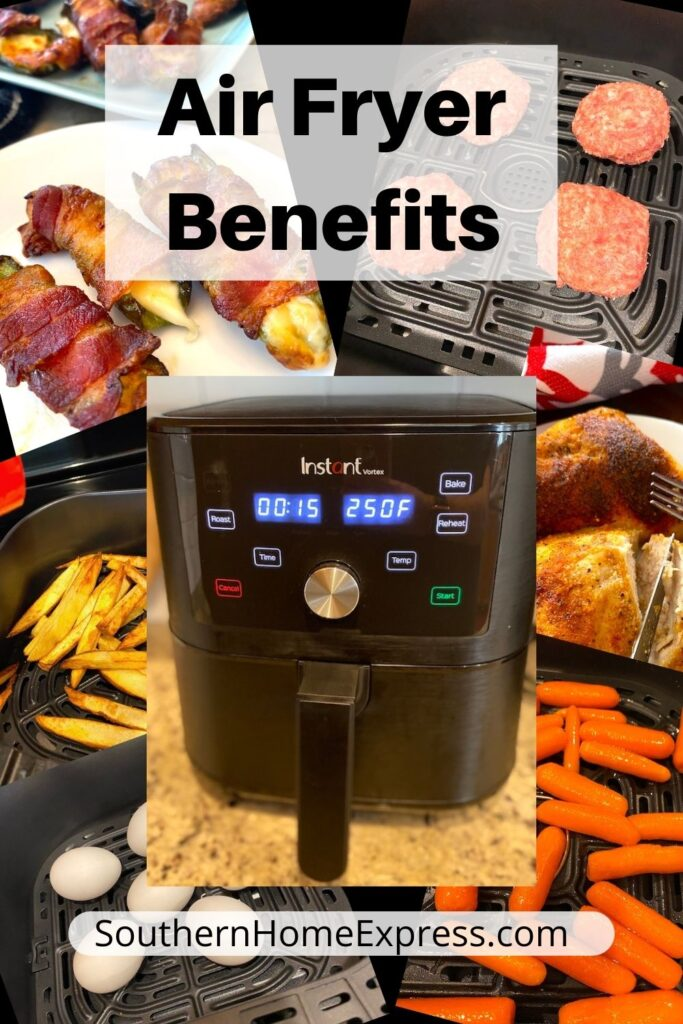 air fryer surrounded by air fried foods