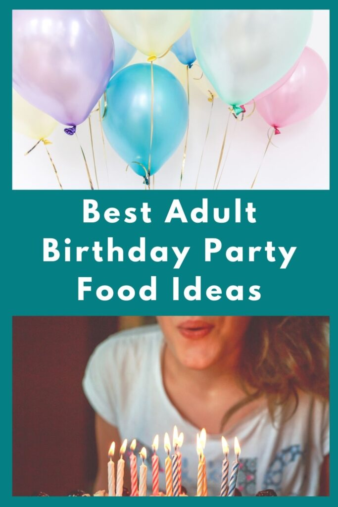 party balloons above young woman blowing out candles on her birthday cake
