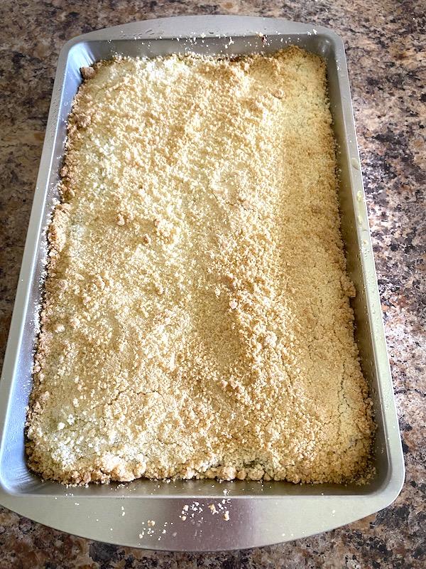 golden top crust on 3 ingredient lemon bars
