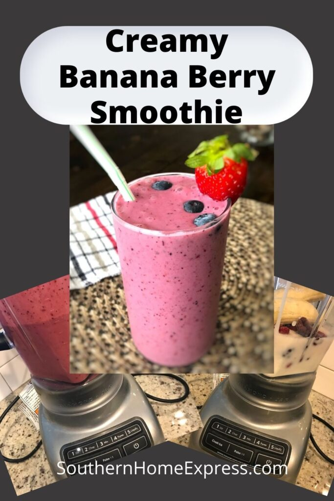 banana berry smoothie in a tall glass with blenders full of ingredients in the background