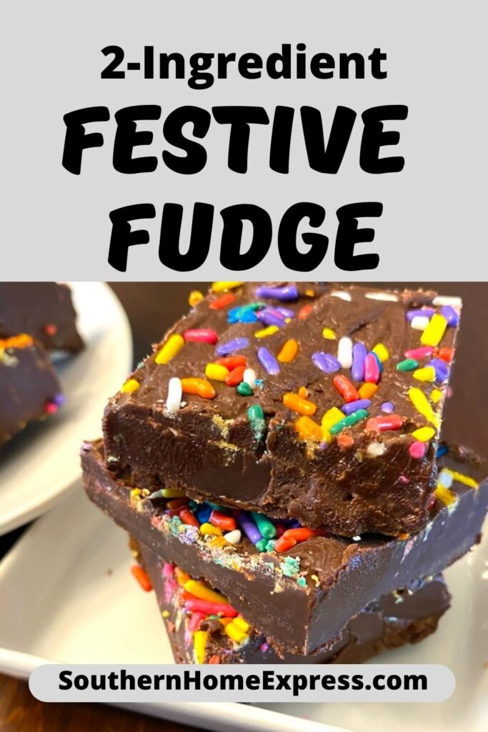 chocolate fudge with colorful sprinkles