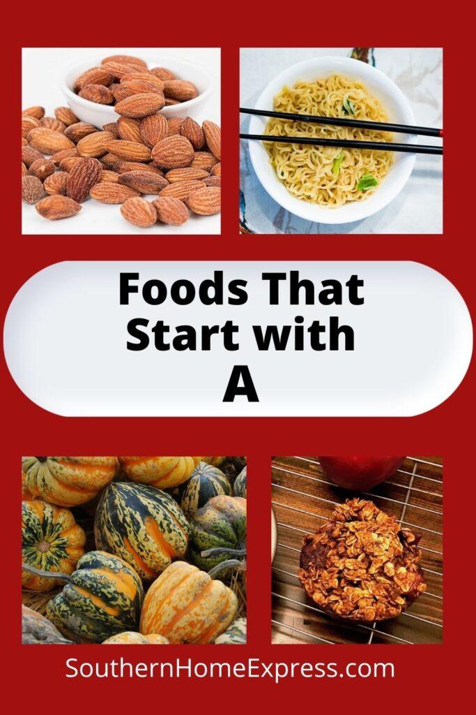 almonds, Asian noodles, acorn squash, and apple cinnamon muffin