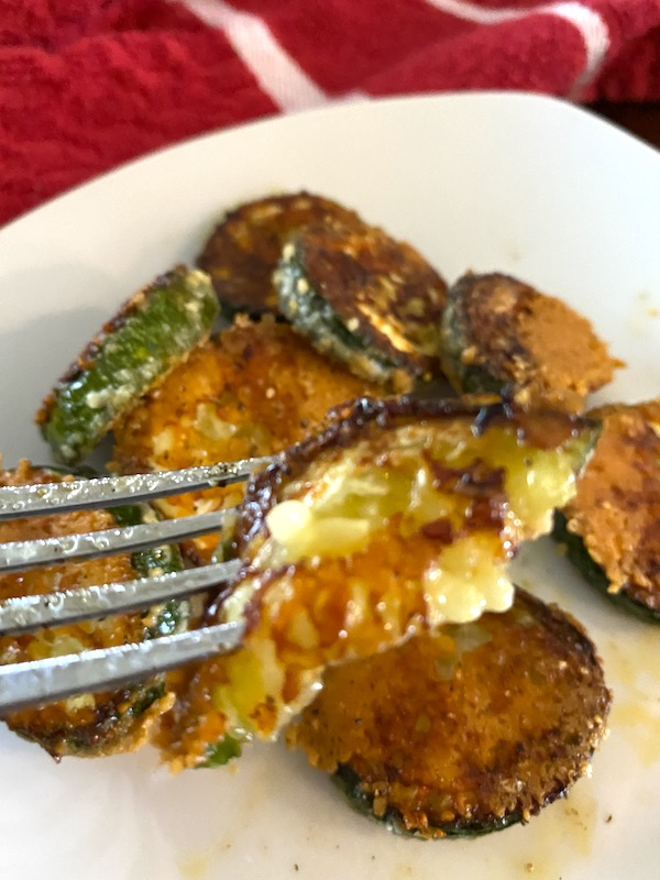 Fork of zucchini parmesan chips