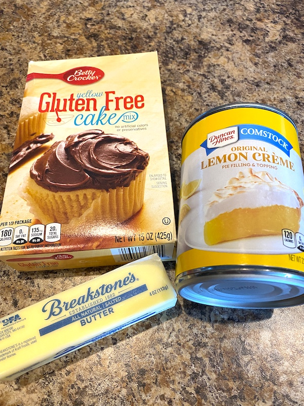 cake mix, lemon pie filling, and butter