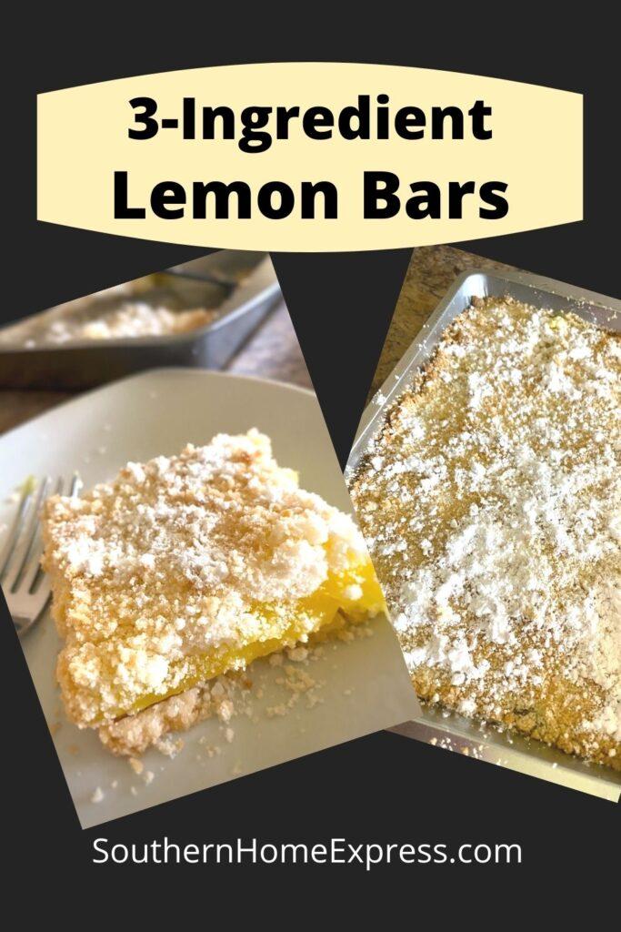 lemon bar on a plate beside a pan of lemon bars