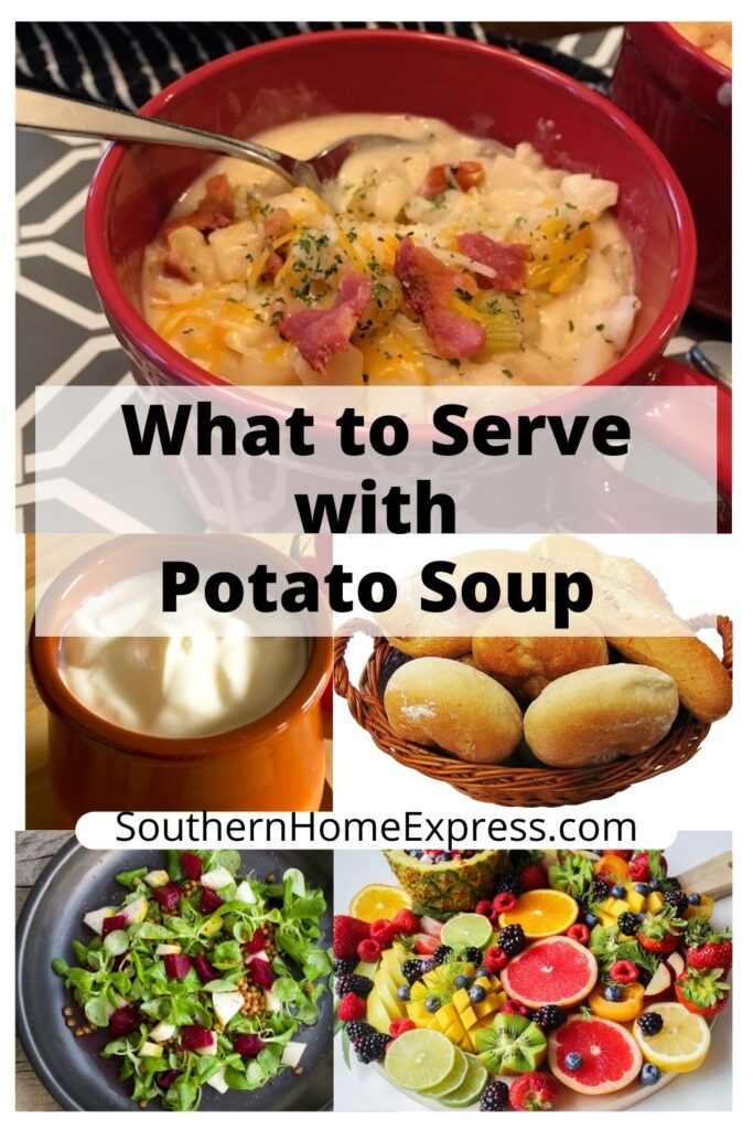 bowl of potato soup with side dishes