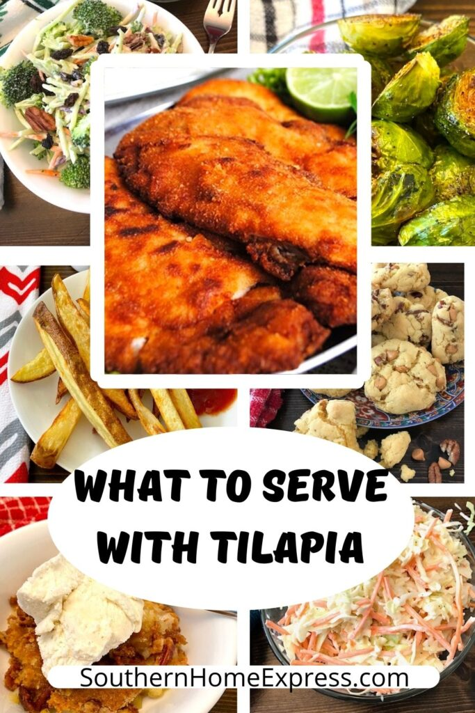 fried tilapia surrounded by side dishes and desserts