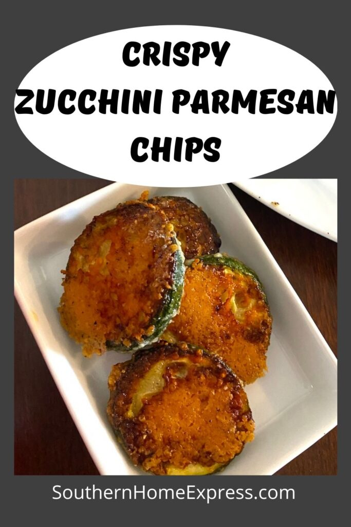 zucchini parmesan chips on a small plate