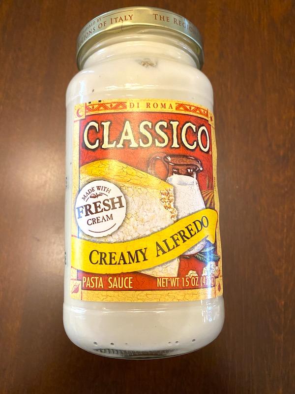 jar of Classico creamy alfredo sauce
