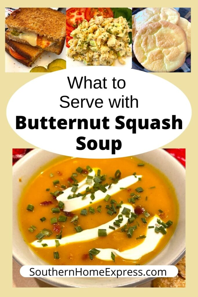 bowl of butternut squash soup with cloud bread, salmon pasta salad, and grilled cheese sandwich